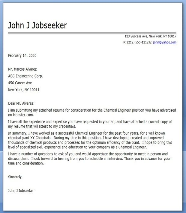 sample cover letter for engineering internship application