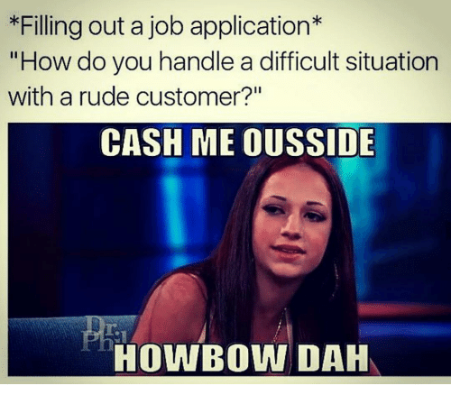 filling out a job application