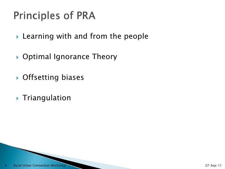 participatory rural appraisal principles methods and application