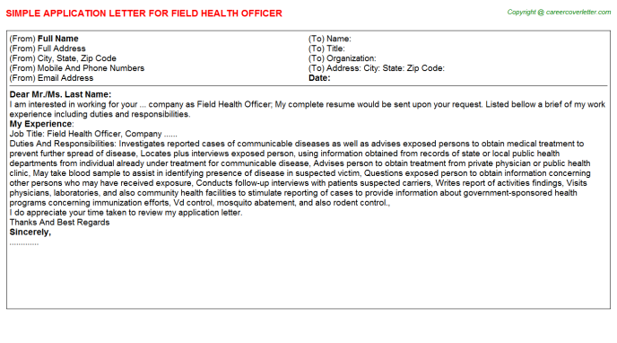 application letter for medical officer
