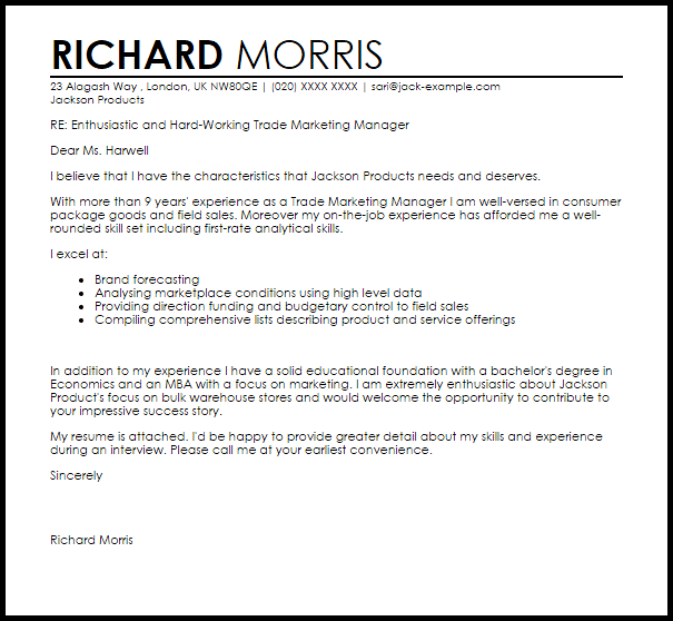 motivation letter for job application example