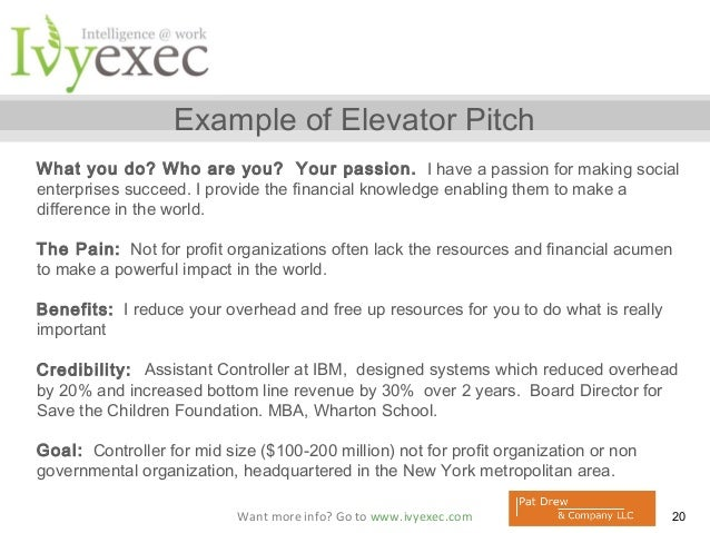 sample pitch for job application