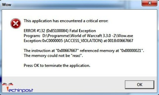 this application has encountered a critical error wow