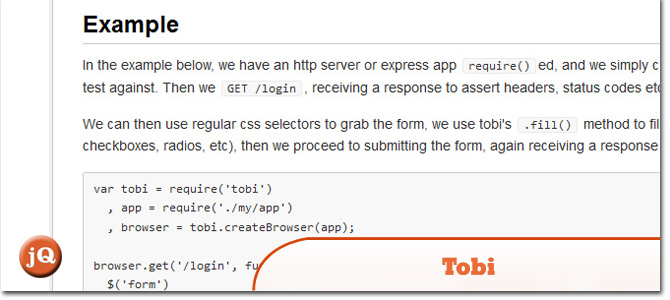 sample application using node js