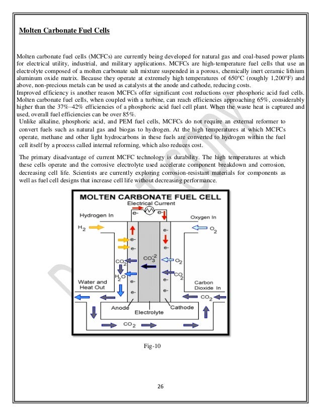 molten carbonate fuel cell applications
