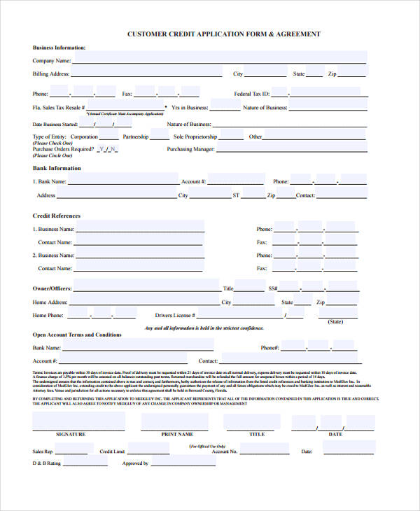 customer credit application form template