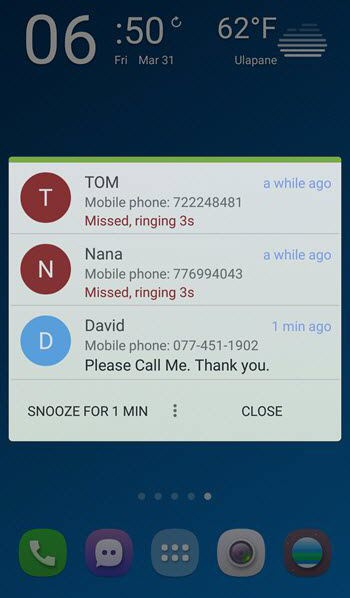 missed call application for android