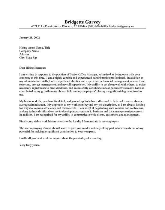 sample application letter for administrative assistant