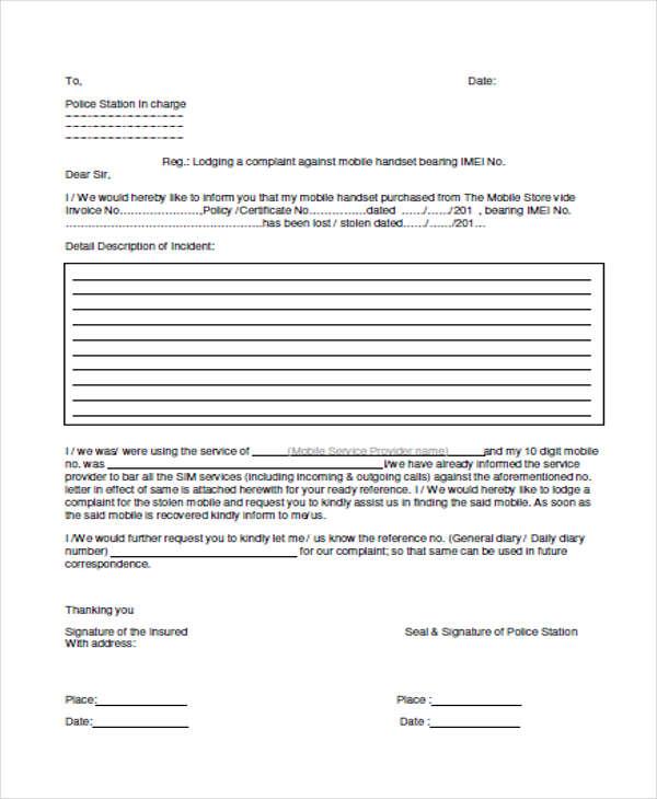 application letter for police station