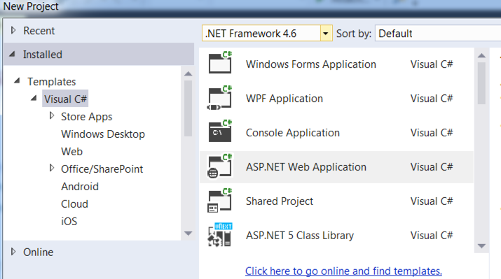 asp net web application template missing visual studio 2015