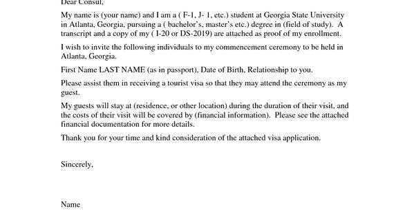 letter for visitor visa application