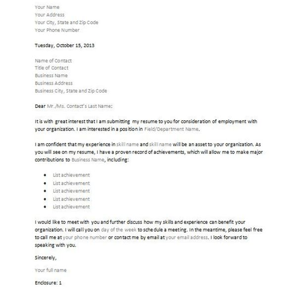 expression of interest template for job application