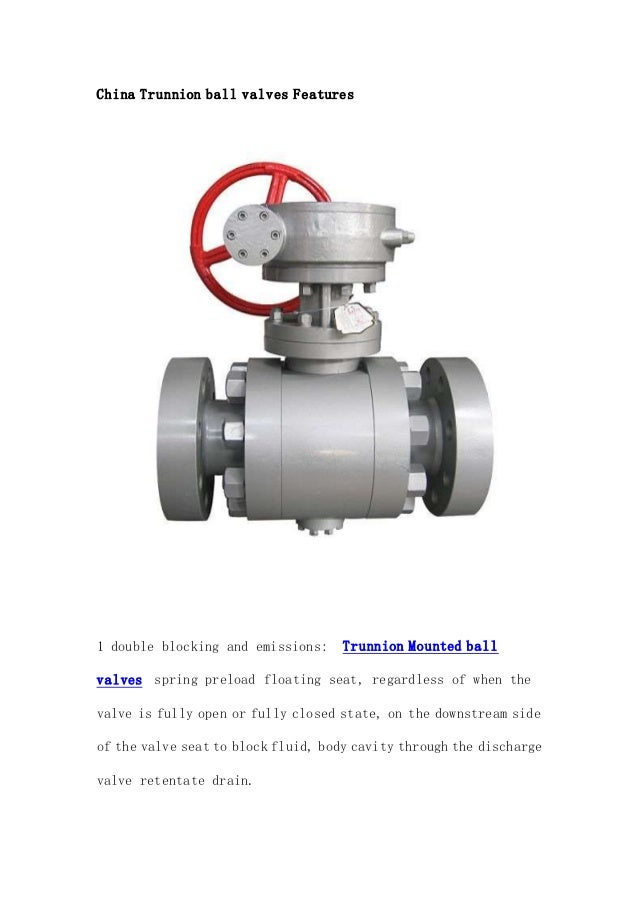 trunnion mounted ball valve applications