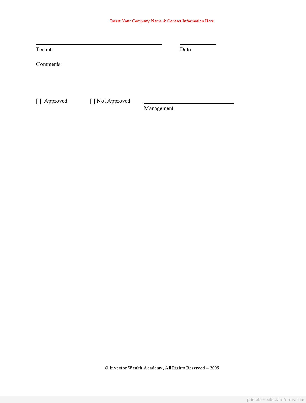 free printable rental application form canada