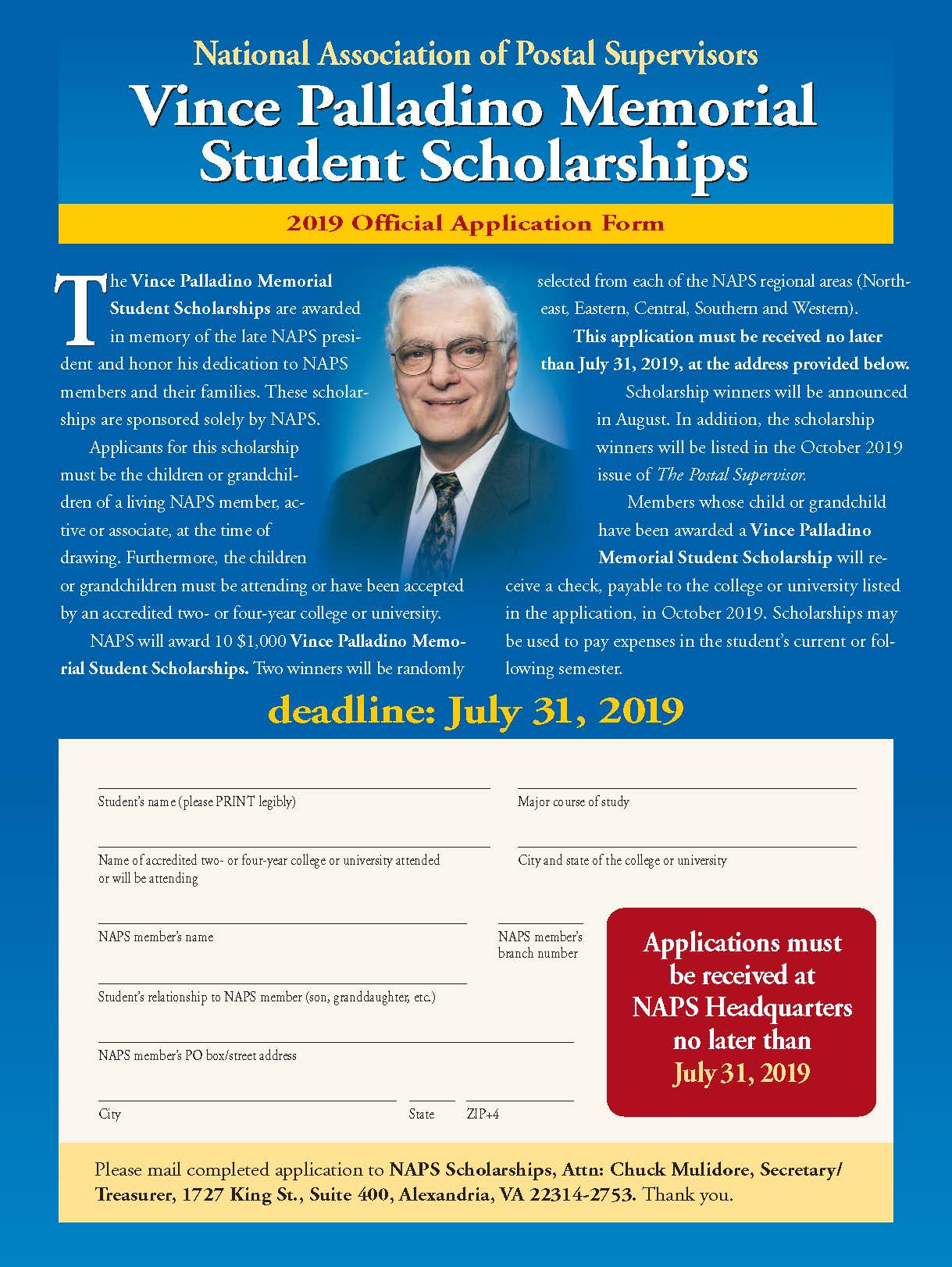 student scholarship application form online
