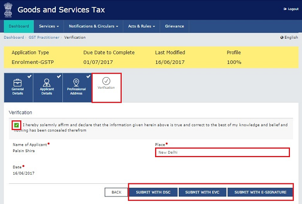 application for goods and services tax registration
