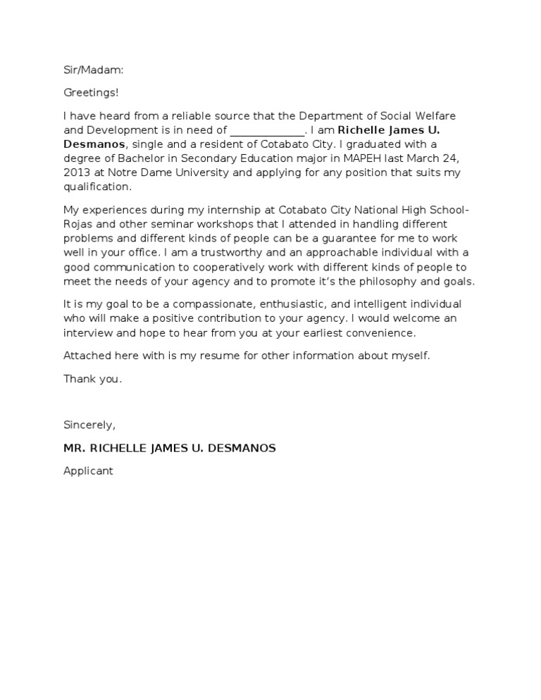 application letter for any position fresh graduate