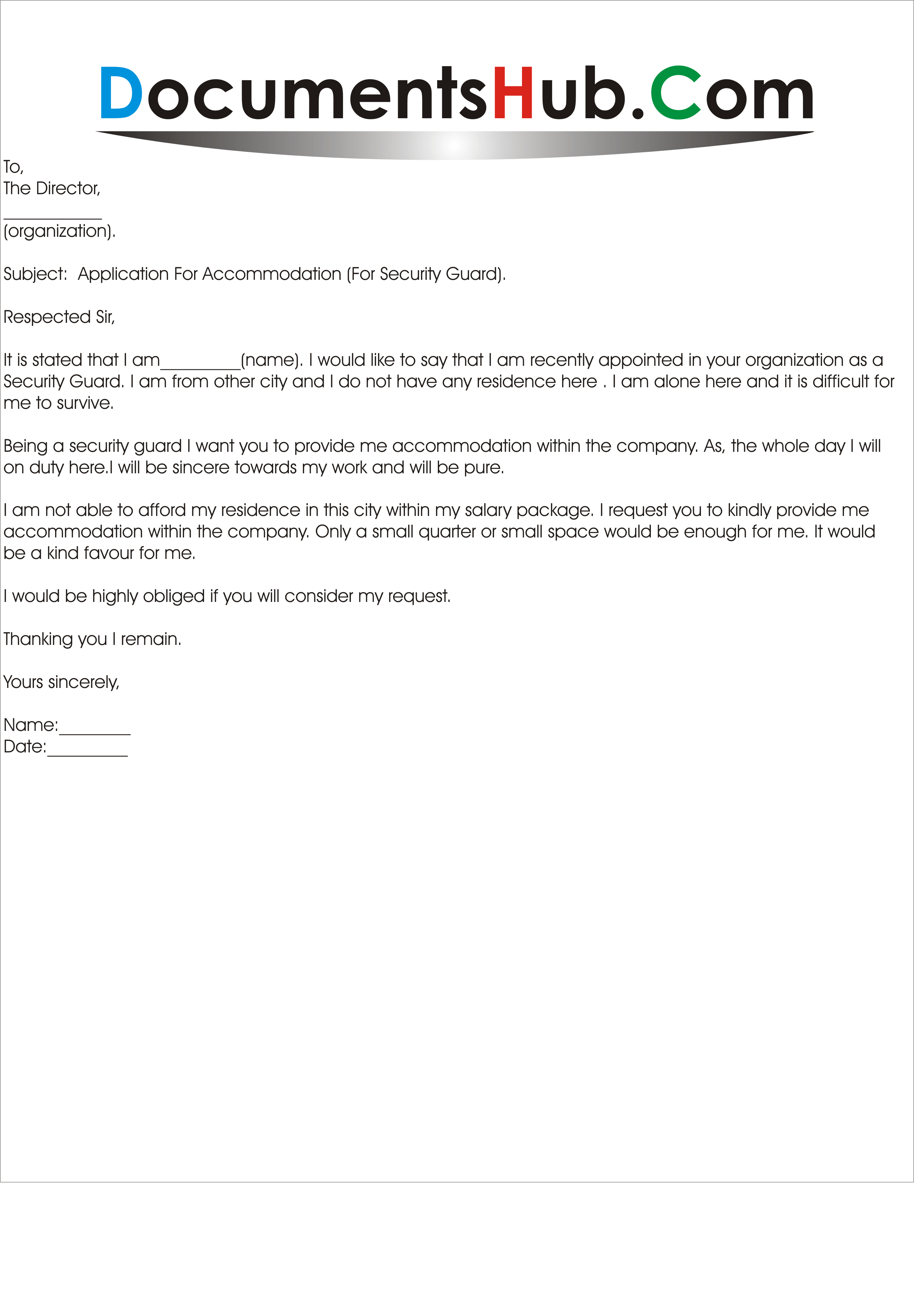 application letter for security guard