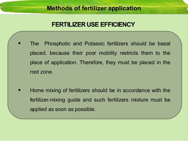 basal method of fertilizer application