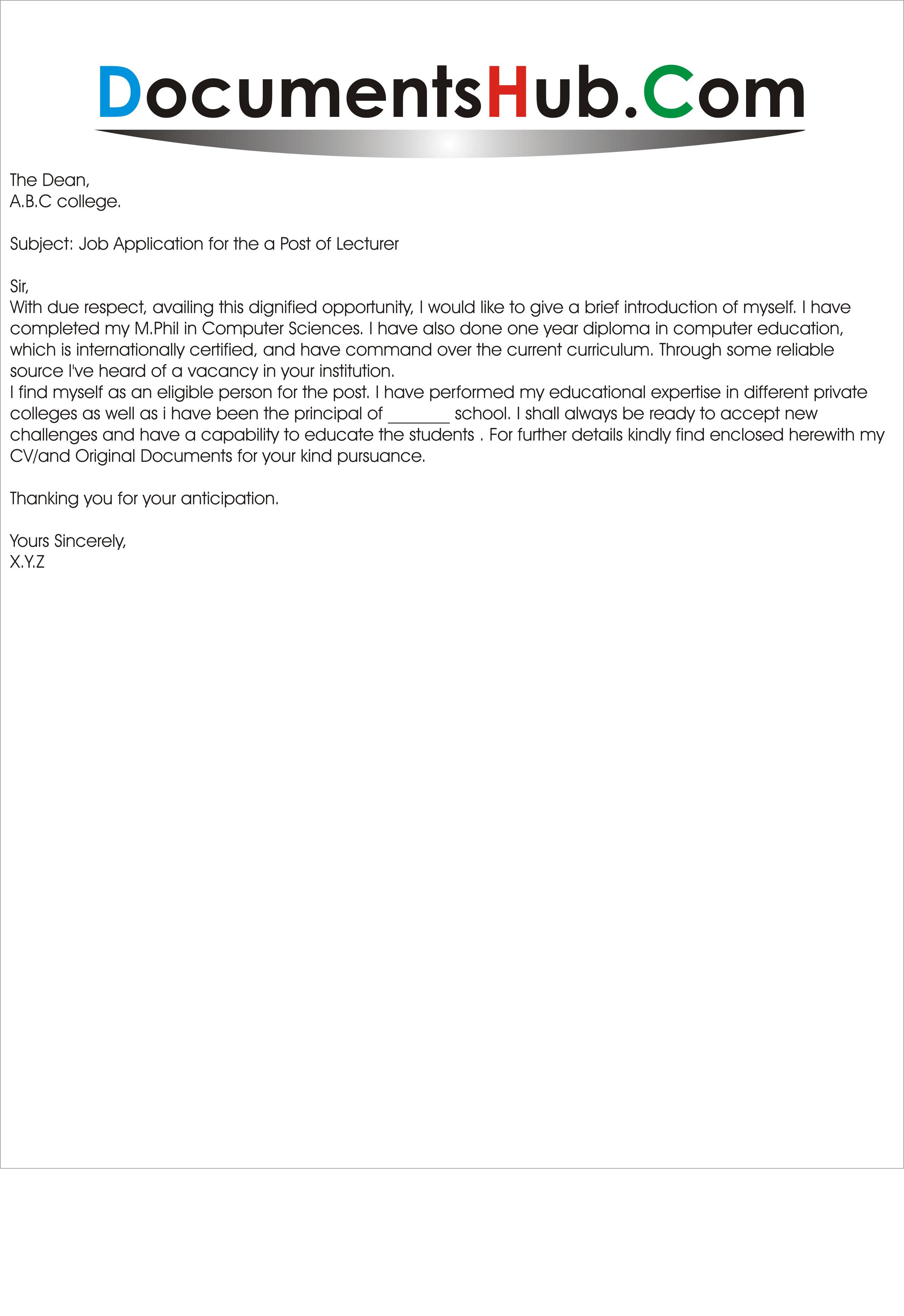 subject for job application cover letter