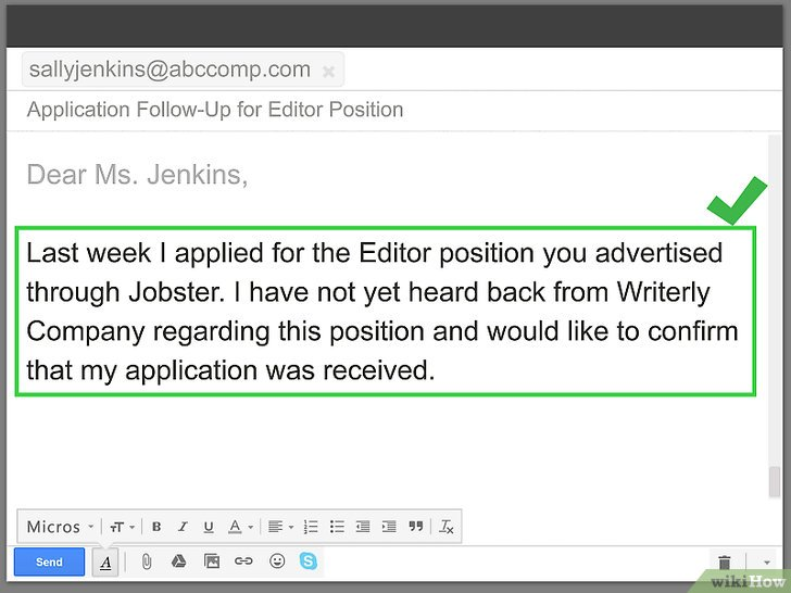 how to make a follow up letter for job application