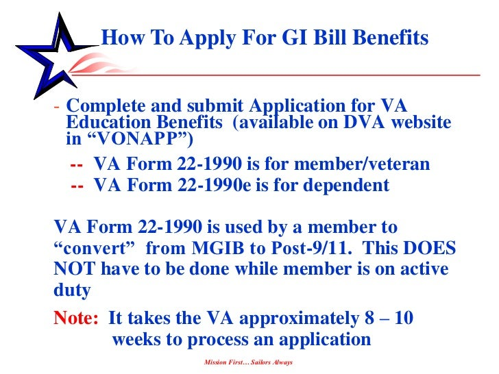 post 911 gi bill application