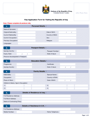 visa application form for visiting the republic of iraq